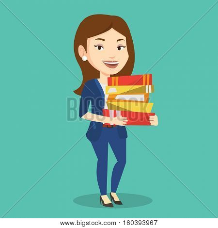 Young caucasian female woman holding a pile of educational books in hands. Student carrying huge stack of books. Student preparing for exam with books. Vector flat design illustration. Square layout.