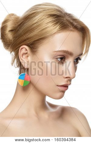 beautiful model lady with natural make-up and blonde hair studio fashion shot on white background perfect skin