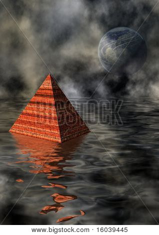 Pyramid in watery landscape