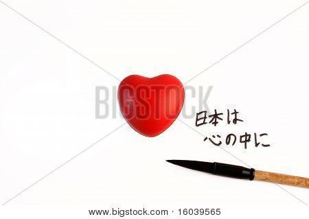 Bandera de Japón con el corazón