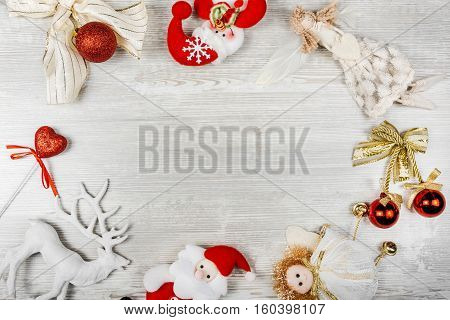 Set of Christmas toys and figures, place for text