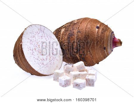 fresh taro with cubes and slice isolated on white background