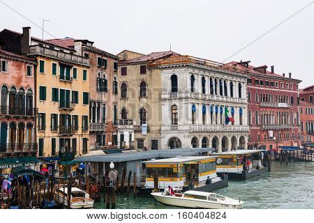 Water Bus Stop On Grand Canal In Venice In Rain