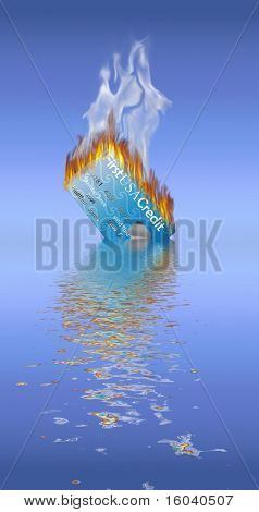 Burning Credit Card being doused