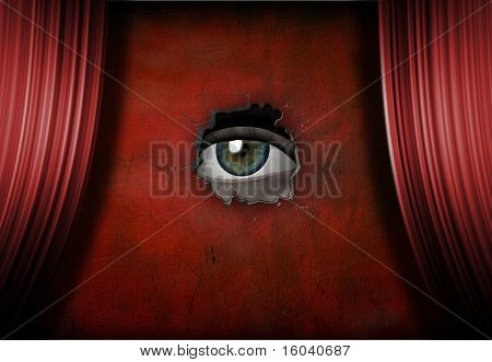 Eye peers out onto empty stage