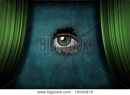Eye peers out from green curtained stage