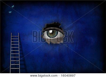 Eye peers through hole in wall