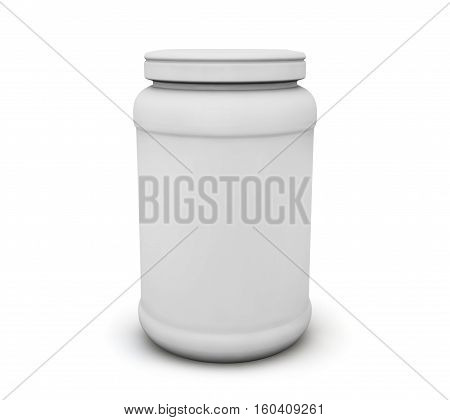 White Blank Jar for tablets with shadow. 3d illustration High resolution