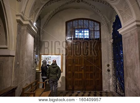 POLAND KRAKOW - JANUARY 01 2015: Inside of the Church of St. Andrew. Romanesque church was built between 1079 and 1098. It is a rare surviving example of the European fortress church.
