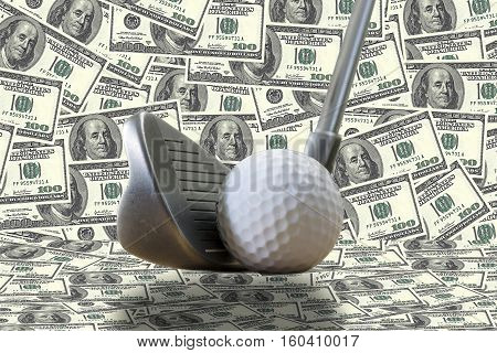 a golf iron a golf ball and us dollars