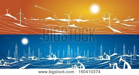 Vector ecology panorama, green energy and polluting industry, windmills and ecology against oil rigs and petroleum, blue and orange illustration