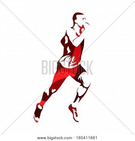 Running man red abstract vector silhouette. Marathon runner