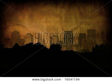 Deep grunge city with tree silhouettes
