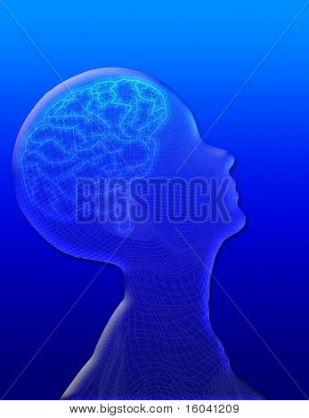 Profile of head with brain