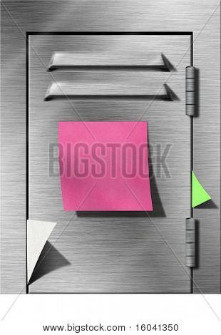 Locker with sticky note