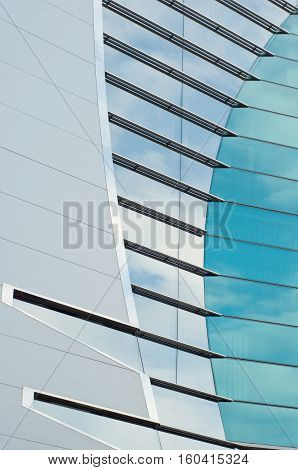 Photo detail of a modern glass building