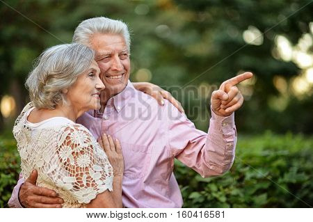 portrait of beautiful caucasian senior couple in the park, man pointing at something