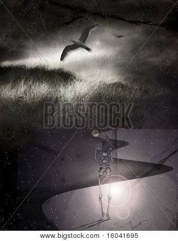 Skeletal figure, time and bird over stars