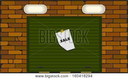 garage (box) of orange brick with sectional overhead doors