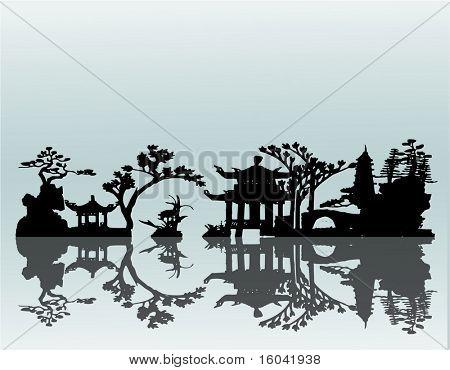 Vector paisaje asiático