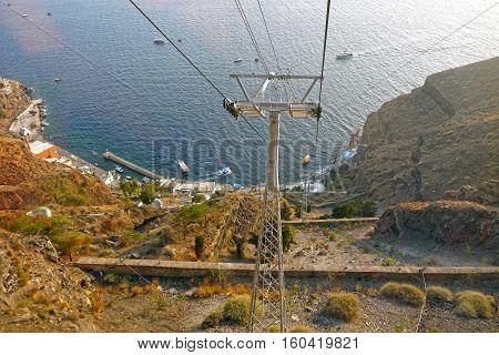 a Beautiful view of Santorini Cable Car, Santorini. GREECE.