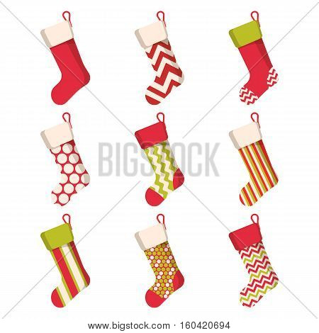 Christmas stocking set isolated on white background. Holiday Santa Claus winter socks for gifts. Cartoon decorated present sock. Vector