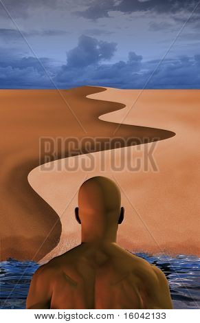 Man emerging from water in desert