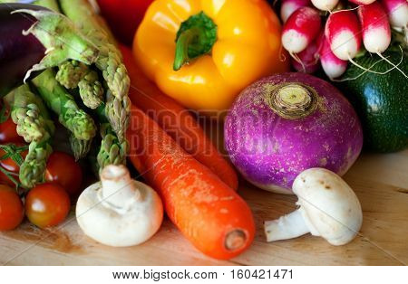 Different fresh organic vegetables ready for cooking