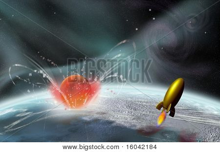 Rocket in flight as there is a planetary impact
