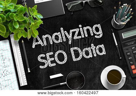 Black Chalkboard with Analyzing SEO Data Concept. 3d Rendering.