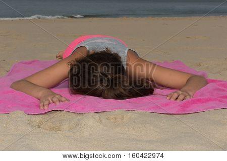 A Girl Is Sleeping On The Beach Holidays