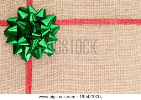Christmas Background On Natural Burlap Textile