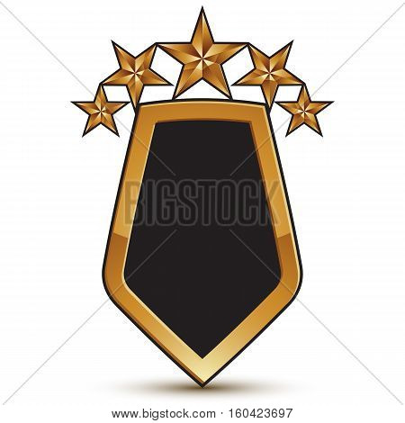 3D Vector Classic Royal Symbol, Sophisticated Golden Shield Shaped Emblem With Five Stars Isolated O