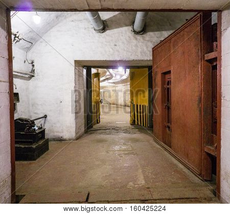 Balaklava, Crimea - September 2016: Door in secret underground submarine base in Sevastopol a secret military installation during the Cold War.