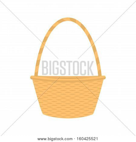 Vector illustration cartoon straw wicker basket. Isolated on white background. Flat style. Empty decorative braided basket with handle. Braid pottle for picnic and products.