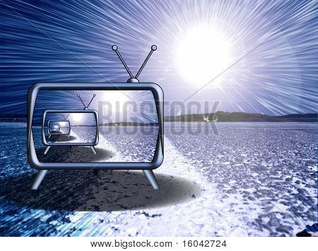 Retro TV with explosion