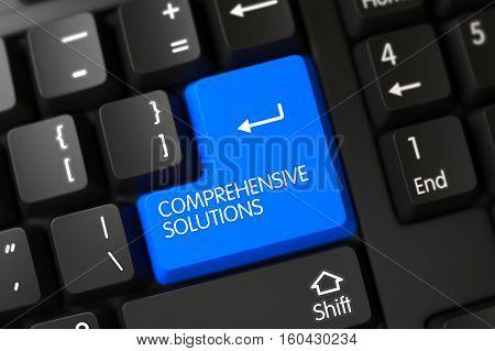 Blue Comprehensive Solutions Key on Keyboard. 3D Illustration.
