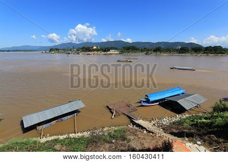 Golden Triangle an area of three countries of Southeast Asia Myanmar Laos and Thailand.