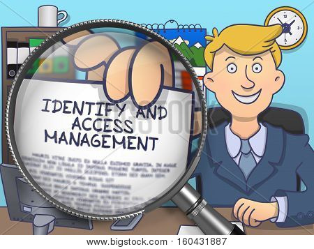 Identify and Access Management. Happy Officeman Sitting in Offiice and Showing Concept on Paper through Magnifying Glass. Colored Doodle Style Illustration.