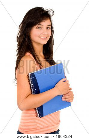 Beautiful Student With A Notebook