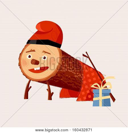 Tió de Nadal (Christmas Log). Christmas tradition in Catalonia and Aragon Spain. Vector illustration