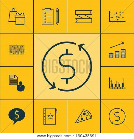 Set Of 12 Universal Editable Icons. Can Be Used For Web, Mobile And App Design. Includes Elements Such As Segmented Bar Graph, Business Deal, Blank Ribbon And More.