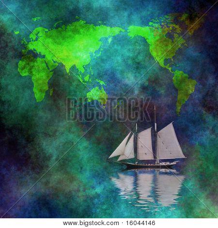 Mapa de barco de vela
