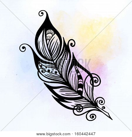 Vector hand-drawn black white decorative feather. Vector illustration of plume for your design ready to use, on colorful background, Hand sketched plume