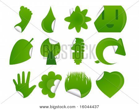 Green Sticker Icon Set