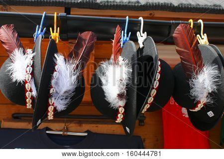 Traditional polish highlanders hats on outdoor market in Zakopane