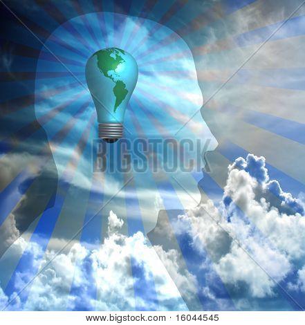 Erde Glühbirne innerhalb Silhouette des mans head