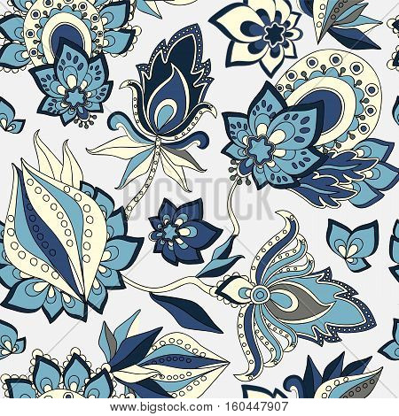 stock vector abstract seamless doodle pattern with flowers and waves. oriental backgraund