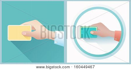 Hand holding credit card. Stock vector illustration. Flat 2.0 style.
