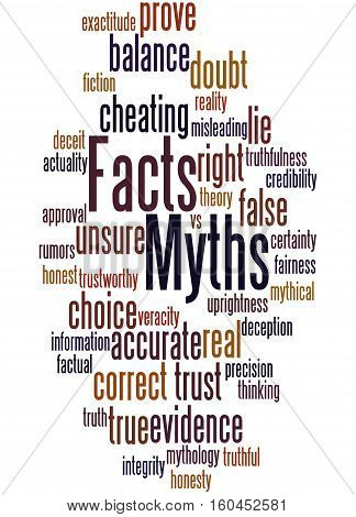 Facts - Myths, Word Cloud Concept
